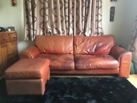 3 seater 7ft red leather sofa