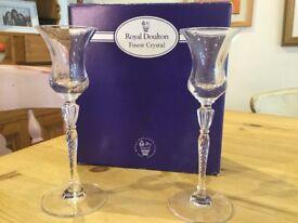 Royal Doulton Crystal candlestick pair