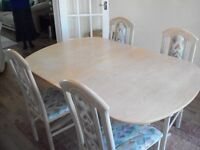 LIMED OAK dining room table and four chairs for sale, good condition