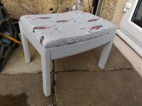 Footstool - with lovely light grey bird print fabric