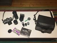 Vintage Canon AT-1 Camera plus 3 lenses