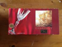 4 x Chantilly 24% Lead Crystal Wine Glasses (2 boxes available)