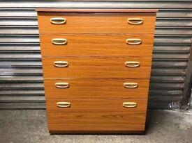 Vintage retro teak chest of drawers