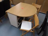 Brand New White And Oak Drop Leaf Table And Chairs. Already Built And Can Deliver