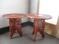 PAIR OF CARVED INDIAN SIDE TABLES WITH BRASS INLAY COFFEE TABLES