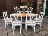 Dining Table & 6 Chairs ~ Farmhouse Solid Pine Table