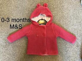 0-3 months girls thick pink winter jacket from M&S. Still selling for £12.
