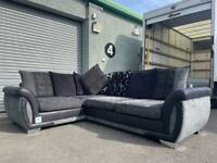 (Purchased) Absolutely Gorgeous grey & black dfs corner sofa ex display!!! Delivery 🚚 sofa suite