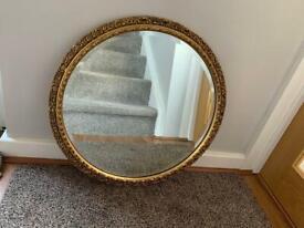 Gilt Fretted Bevelled Edge Circular Mirror