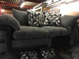 NEW / EX DISPLAY Dfs Cord Grey 2 Seater Sofa