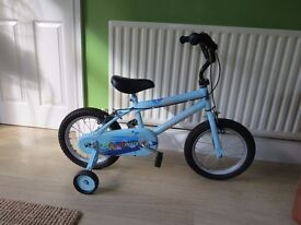 """BOYS BIKE. 14"""" WHEELED WITH STABILISERS..""""TRAX 14""""..EXCELLENT CONDITION,READY TO RIDE AWAY.."""