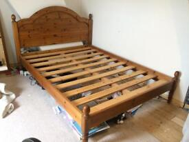 Solid pine double bed frame and mattress
