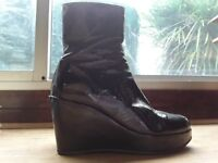 Pedro Anton black patent wedge platform ankle boots. Size 39 (6). Very good condition, as new.