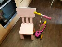 Girl's scooter for 2 and 5 years old. Plus free pink chair for girls.