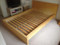 Ikea MALM Pine Veneer Double Bed in Good Condition