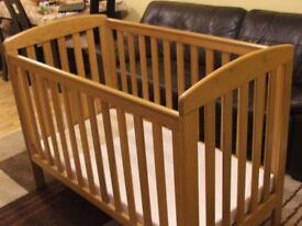 Mamas & Papas Wood Cot Bed with mattress