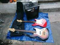 Johnson and fender guitar and bass amplifier jazz bass leed guitar