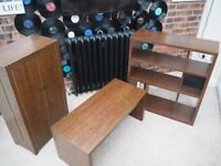 3 PIECE DARK WOOD FURNITURE SET