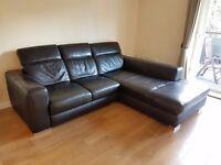 Black Leather Corner Chaise Sofa
