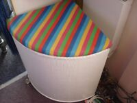 laundry basket llloyd loom corner (colourful/childrens bed/bathroom) white/multicoloured upcycled