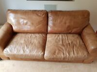 Sofas by Indigo Furniture, brown leather, 3 seater grand, £1990 New, Lovingly designed and made.