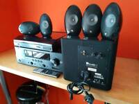 Surround sound stereo and kef egg speakers plus record player