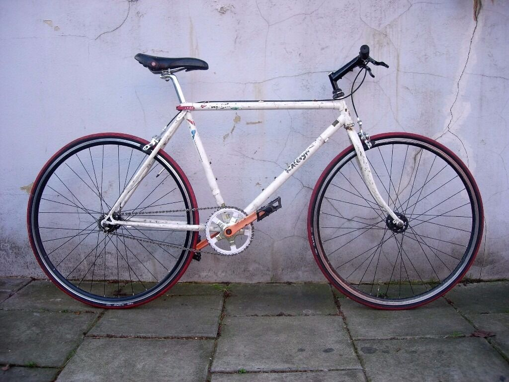 Fixie Single Speed Bike By Raleigh White Lugged Steel Frame Rat