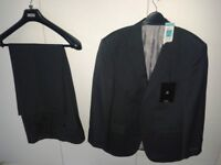 Men's M&S Charcoal grey lined suit – jacket still with tags, trousers worn once.