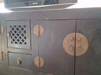 Vintage Dark Brown Wood TV Cabinet