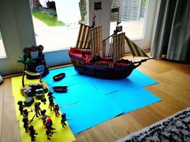 Play Mobil Large Pirate Ship - with desert island and extras