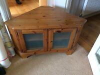 Ducal pine corner TV cupboard with glass doors