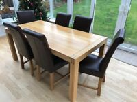 Alto Natural Solid Oak 6ft X 3ft Dining Table And 6 Brown Leather Chairs