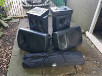 PA system. Four speakers amp and mixing desk