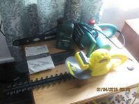 chain saw and hedge cutters