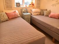 2 IKEA single beds with Mattresses, Duvets, Duvet covers and sheets. Downsizing so not needed