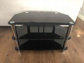 TV Stand/Unit Glass Corner - Black & Chrome
