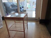 small glass table ideal for bedside ect