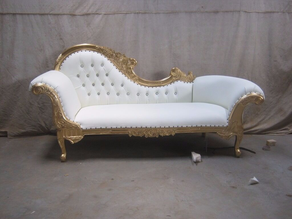 3 Piece Paris Gold Leaf Gilded Chaise Longue Set Wedding Sofa Ornate Carved Lounge Furniture French