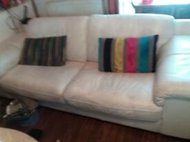 White leather 2 and 3 seater sofas