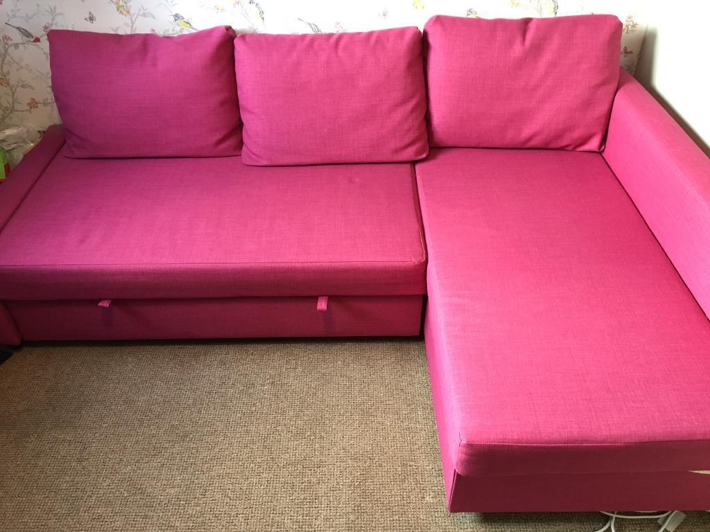 Pink Ikea Corner Sofa Double Bed With Storage In Cumbernauld