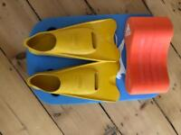 Swimming fins and floats