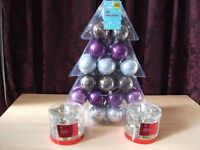 Brand new christmas baubles/tealight holders
