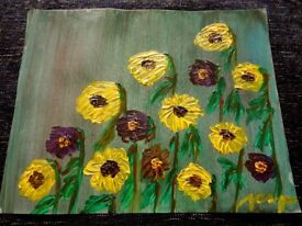 Handpainted oil painting on canvas - sunflowers - personal collection 51x41 cm