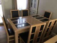Solid Oak & Granite Dining Table and 6 Chairs