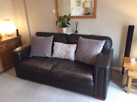 Large brown leather 3 piece suite for sale - £200
