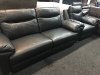 NEW - EX DISPLAY LAZYBOY GREY LEATHER ALANZO 3 + 1 SEATER ELECT RECLINER SOFAS+ FOOTSTOOL 70%Off RRP