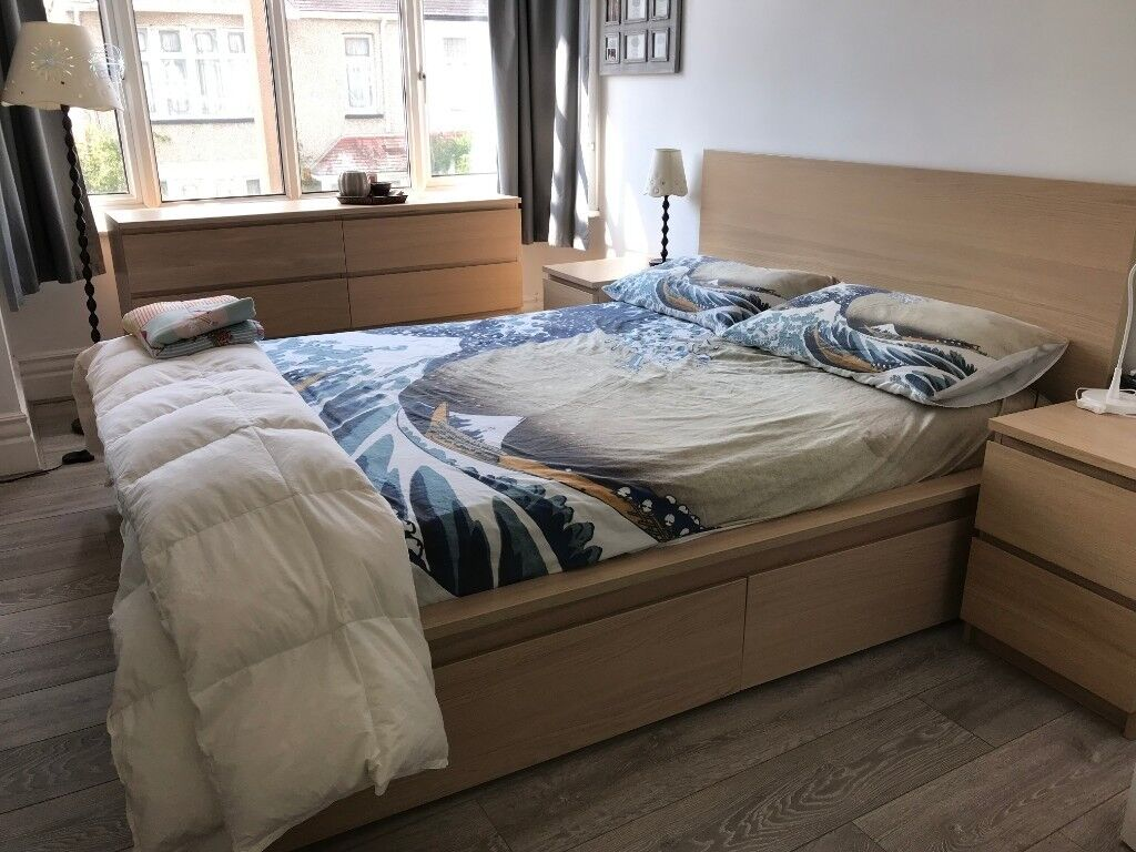 Ikea Malm Bed Oak Veneer Excellent Conditions In