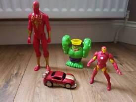 super hero bundle toys. spiderman iron man transformer car and hulk smash