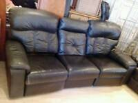 2 black 3 seater leather recliner