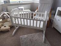New John Lewis White Swinging Crib including mattress